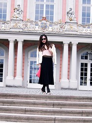 Juliet Do - Zara Jacket, H&M Clutch, H&M Blouse, Zara Heels, Ray Ban Glasses, Unknown Black Maxi Skirt - Cool Spring
