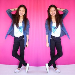 Lea Esguerra - Zara Denim Blouse, Lee Black Pants, Cotton On White, Volcom Shirt With Print - Denim Blouse :)