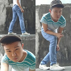 Anthony Shieh - Mint Cascade Stripes Top, Terranova Skinny Jeans, Converse Sneakers, 19 Calclovs Military Cap, Hugo Boss Belt - Let me see what you're torquing with.