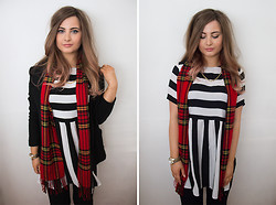 Emma Woodley - Primark Blazer, Motel Smock Stripe Dress, Ebay Scarf, Juicy Couture Watch, Ebay Necklace - Stripes & Tartan