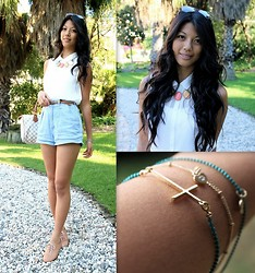 Rhea Hsu - Louis Vuitton Bag, H&M Blouse, Forever New Sunglasses, Accessorize Bracelets, Sissy Boy Denim Shorts - Chasing the Sun