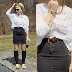 Samii Ryan - American Apparel Skirt, Paris Vintage Belt, Vans Shoes, Forever 21 Necklace, By Samii Ryan Ear Cuff, Vidakush Braclets - Vans Classic Color- Yellow