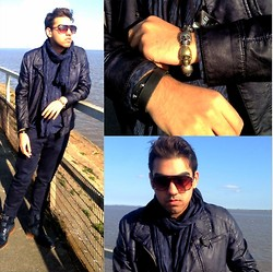 Umar Iqbal - Zara Navy Leather Jacket, Joy Sunglasses, H&M Organic Scarf, Topman Navy Skinny Jeans, Zara Hybrid Boot/Brogue, Topman Skull Bracelet, H&M Dragon Tattoo Bracelet Band, Jt Quiff Inspired, H&M Conscious Collection Shirt - Nauti-Navy Bad Boy