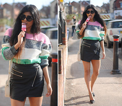 Kavita D - Chic Wish Stripe Sweater, Style Stalker Black Leather Biker Zip Skirt, Zara Asymetric Heels, Topshop Wildfox Bel Air Lookalikes, Vintage Cream Satchel - Ice Cream