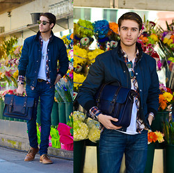 Adam Gallagher - Similar Here  > Jacket, Similar Here  > Plaid, Ted Baker Satchel, Similar Here  > Boots - Blossoming
