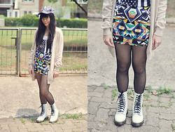 Mitha Komala - Topshop Cap, Next Cardigan, Topman Tanktop, Auburn And Ginger Skirt, Dr. Martens Boots - Give Me Ginger Tea