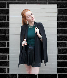 Megan Doyle - Elliatt Black Cape, Sister Jane Green Dress - Birthday Post @ Darling, We're the Young Ones blog