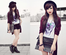 Andrea Ladstätter - H&M Purple Skull Tank, H&M Magenta Cardigan, Dr. Martens Black Ankle, H&M Black Bowler Hat, Off Brand Black Studded Velvet Shorts, Off Brand Skull Hand Bag, H&M Random Braclets - Thank you for the 1000+ fans!