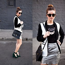 Michelle Madsen - Quay Eyeware Sunglasses, Lf Store Blazer, Voz Clothing + Art Necklace, Lf Store Skirt, Coach Bag, Jeffrey Campbell Shoes - STATEMENT PIECES
