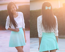 Megan H - Forever 21 Lace Top, Charlotte Russe Mint Skirt, American Apparel Bow - Sunset