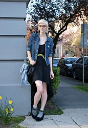 Caitlin W - Gap Diy Studded Jean Jacket, Forever 21 Black High Low Dress, Green Belt, Black And White Stripped Socks, Goodwill Blue And White Silk 'China Print' Scarf, Black Wedges, Black And Bronze Camera Purse - Easter Sunday