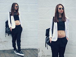 L. AL - H&M Sunglasses, Topshop Crop Top, Silvian Heach White, H&M Loose Pants, Jeffrey Campbell Studded Creepers - 10 degrees