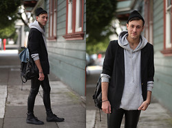 Jared Ralys - Vintage Backpack, H&M Leather Pants, H&M Leather Sneakers - SPORTSWEAR