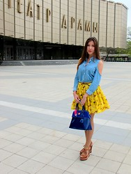 Victoria Kovalenko - Alice And Olivia Yellow Skirt, Paul's Boutique Blue Bag, Forever 21 Shirt, Miu Shoes - Yellow skirt
