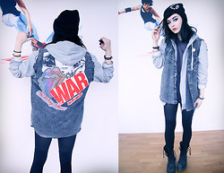Jerina Laaksonen - 2:Nd Hand Denim Vest, 2:Nd Hand T Shirt, H&M Hoodie, Cheap Monday Hat, Monki Stockings - THIS MEANS WAR