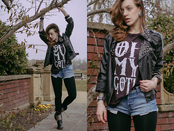 Kittie Racchea - Black Biker Jacket Customised, Topshop Oh My Goth Shirt, River Island Denim Hotpants - I wish that we could go back to how we were before
