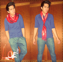 Jace Amornkuldilok - Mango Red Scarf, Penshoppe Dark Blue Plain Shirt - That Neck Thing