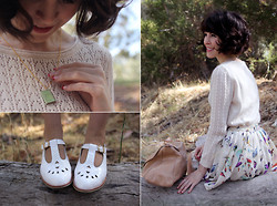 Sushi Girl - Modcloth Pointelle A Tale Sweater, Chic Wish Bird Print Skirt, Le Blog De Sushi Lolita Book Necklace, Modcloth It's Snow Wonder Flats - Picnic at Hanging Rock