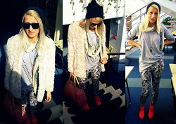 Krista NotSerious - Cubus Coat, Accessories Hat, Scarf, Bershka Handbag, Cubus Sweater, Divided Pants - Stay awesome Gotham