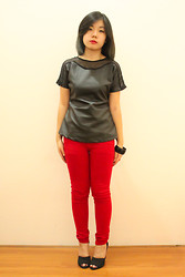 Cynthia Bk - Cincin Leather Top, Red Pants, Zara Back Spiked Heels - Belated Blogversarry Giveaway!
