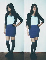 Giovanna C. - Banana Republic Black Cardigan, Forever 21 Mint Blue Tank Top, Bluish Skirt, Thigh High Socks, Black Ankle Boots - My European Heartache