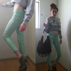 Rose Pendleton - Forever 21 Mint Green Jeans, Disneyland Sweatshirt, Wet Seal Brown Fringe Bag, Forever 21 Cheetah Booties - Remake