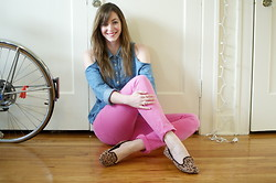 Kelly M. - Forever 21 Studded Chambray Shirt, H&M Pink Jeans, Gap Leopard Print Smoking Slippers - Pink, blue, leopard