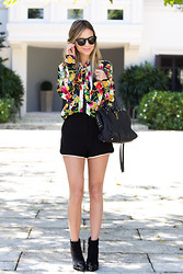Luisa Accorsi - Juicy Couture Blouse, Yves Saint Laurent Bag, Chanel Boots - Floral
