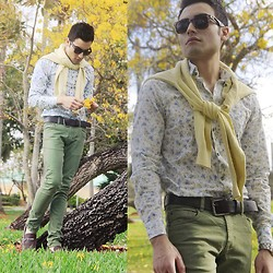 Juanjose Rangel - Sisley Floral Shirt, Cotton On Green Earth Pants, Tom Ford Brown Leather Shoes, Tommy Hilfiger Yellow Sweater - Golden Spring