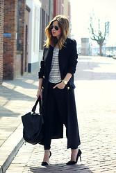 Christine R. - Zara Coat, Asos Leather Backpack - Black and stripes