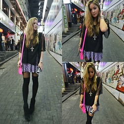 Christing Chang - Maje Skirt, Cambridge Satchel, Cheap Monday Wedges, Forever 21 Necklace, Candies Iphone Case - Pink & Purple