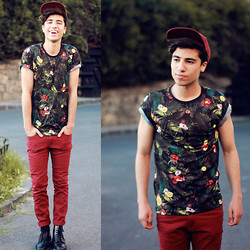 Ayoub Mani - H&M Cap, Zara Flower Tee, H&M Pant, Boots Docs - On Life To Live