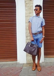 Ed Domingo - Thrifted Polo, Cut Old Pants Denim Shorts, Thrifted Hand Bag - BACK TO BASICS
