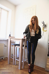 Filippa Smeds - Americana Vintage Baseball Jacket, American Apparel Disco Pants, Cheap Monday Shoes, Weekday Top - Americana Vintage