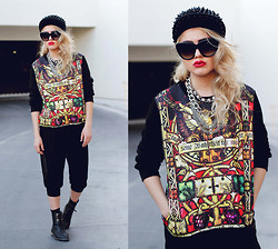 Bebe Zeva - Romwe Stealth Snapback, Oasap Stained Glass Sweater, Yes Style Chiffon Overlay Capri Pants - FERROFLUID