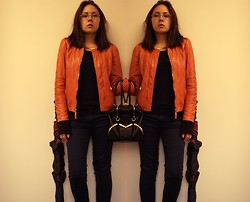 Angelina Sunshine - Vogue Glasses, Massimo Dutti Leather Jacket, Zara Trousers, Zara Bag - Orange Spot On A Rainy Day