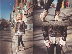 Cecily Richardson - Silence + Noise Sweater, Sam Edelman Booties, Elizabeth And James Blouse - The roots