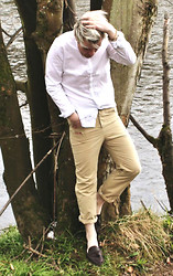 Seanan Collins - Burberry White Shirt, Seanan Collins Cream Trousers With Pocket Slit, Hudson Brown Leather Loafers - Huckleberry Finn