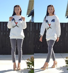 Faith Png - Ebay Kitty Ear Headband, Oasap Cat Face Jumper, Grey Pants, Grace Hill Nude Heels - Hi Meow