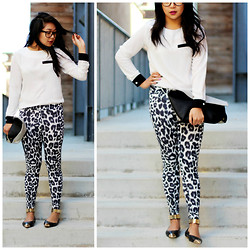 Kimberly Anne S. - Pink Manila B&W, Angl Double Side Clutch, H&M Leopard - Meow.