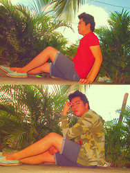 Jace Amornkuldilok - Bench Red Shirt, Gap Camouflage Hooded Jacket - Camouflage + Palms