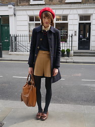 Ella Catliff - A.P.C. Peacoat, American Apparel Beret, Boutique By Jaeger Jumper, Whistles Shorts, Anya Hindmarch Tote, Russell And Bromley Loafers - Hard Working