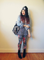 Tania Lau - Lazy Oaf Three Eyed Beanie, Nine West Vintage Velvet Ankle Boots, River Island Floral Leggings - Antisocial (Trust)