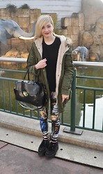 Cara E - H&M Black Jumper, Black Milk Clothing Cathedral Leggings, Topshop Bowler Bag - OUT THERE
