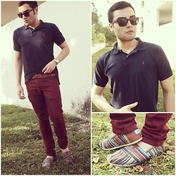 Juanjose Rangel - Toms Classic Striped, Ralph Lauren Navy Blue Polo - Polo and Toms