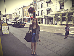 Roxii Hoare-Smith - Rokit Jacket, Forever 21 Bralet, Topshop Skirt, Urban Outfitters Belt, Zara Bag, Primark Shoes - Metallic Leather