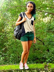 Vika Blue - Youth Black And Brown Shirt, Converse Red All Star, Viika's Green Shorts - PEACE IS GREEN