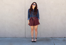 Cindy C. - Qupid Monte Carlo Heels, Romwe Lock&Key Belt, Vintage Sunnies, Velvet Heart Denim Button Up, Oxblood Leather Skirt - Long hair don't care.
