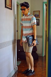 Jehan R. - Topman Striped Polo, 101 New York Clutch, Penshoppe Shorts, Aldo Loafers - Thieves Like Us
