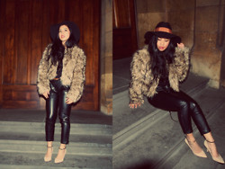 Kristel D - Bb Dakota Fur Jacket, Mossman Leather Pants, Zara Nude Heels, Mimco Floppy Hat - Element of Freedom